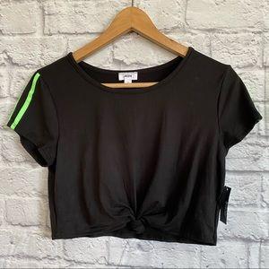 4/$20🍄 ARDENE NWT Black Green Stripes Cropped Tee